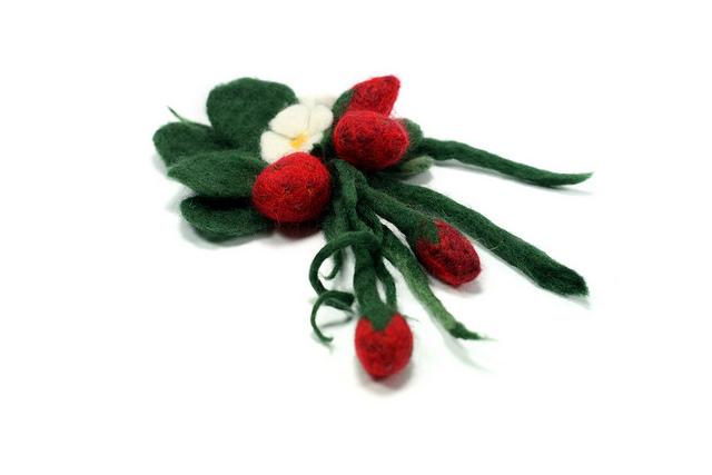 Handmade wool felt strawberry brooch