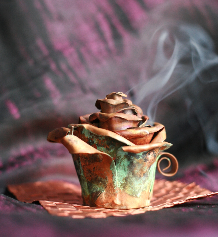 Copper Rose Bud Incense Burner