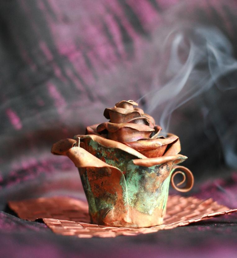 Copper Rose Bud Incense Burner